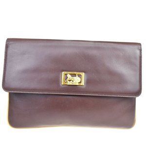 CELINE Horse Carriage Clutch Bag Leather Brown